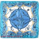 Платок шейный 50*50см,  полиэстер 100%,  плетение атлас,  31-2-1-32,  голубой 146509