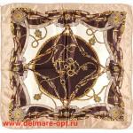 Платок шейный 50*50см,  полиэстер 100%,  плетение атлас,  31-2-1-32,  беж+коричневый 146510