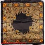 Платок головной 90*90см,  полиэстер 100%,  плетение атлас,  рис 91-201-01-39,  черный 146526