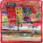 Платок головной 90*90см,  полиэстер 100%,  плетение атлас,  рис квартал,  красный 146537