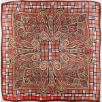 Платок головной 90*90см, полиэстер 100%,  плетение атлас;  рис 91-201-02-01,  коричневый 146544