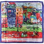 Платок головной 90*90см,  полиэстер 100%,  плетение атлас,  31-11,  синий  (город)  146545