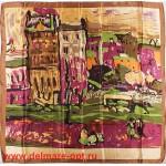 Платок головной 90*90см,  полиэстер 100%,  плетение атлас;  рис 52-2-5/1-613,  бежевый  (город) 146546