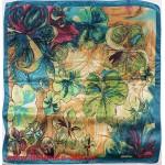 Платок головной 90*90см,  полиэстер 100%,  плетение атлас;  рис 52-2-5/1-70,  бирюзовый 146550