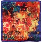 Платок головной 90*90см,  полиэстер 100%,  плетение атлас;  рис 52-2-5/1-70,  синий 146551
