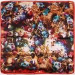 Платок головной 90*90см,  полиэстер 100%,  плетение атлас;  рис 52-2-5/1-7-3,  рыжий 146552