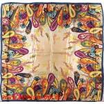 Платок головной 90*90см,  полиэстер 100%,  плетение атлас;  рис 52-2-5/1-8-3,  синий 146556