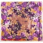 Платок головной 90*90см,  полиэстер 100%,  плетение атлас,  рис 52-2-5-цветочная рапсодия,  беж+фиолет 146559