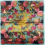 Платок головной 90*90см,  полиэстер 100%,  плетение атлас,  рис 52-2-5-цветочная рапсодия,  бирюзовый 146560