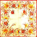 Платок головной 90*90см,  полиэстер 100%,  плетение атлас,  рис амариллис,  бежевый 146563