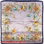 Платок головной 90*90см,  полиэстер 100%,  плетение атлас,  рис амариллис,  серый 146564