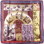 Платок головной 90*90см,  полиэстер 100%,  плетение атлас;  рис 52-2-5/1-5-1,  серый 146565