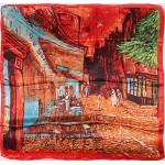 Платок головной 90*90см,  полиэстер 100%,  плетение атлас,  31-2-2-41,  красный 146910