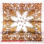Платок головной 90*90см,  полиэстер 100%,  плетение атлас,  31-2-2-48,  белый+беж 146911