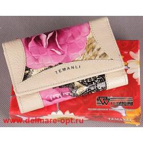 Кошелек женский натуральная кожа Temanli-517А-UD 01В-781 (вставка иск/к),  защелка внутри,  7отд+10карм,  беж+сер 146955