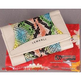 Кошелек женский натуральная кожа Temanli-517А-UD 01В-676 (вставка иск/к),  защелка внутри,  7отд+10карм,  бежевый 146956