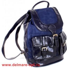 Сумка женская иск/кожа+нат/замша VLS-T 20217A-15 (рюкзак),  1отд,  синий 147002