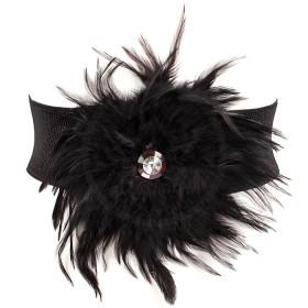 Ремень женский иск/кожа+текстиль 411-033 шир 7см,    перья,    черный