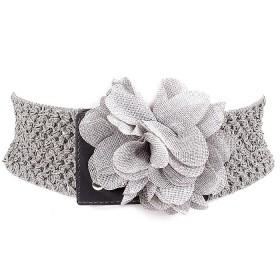 Ремень женский иск/кожа+текстиль 411-034 шир 7см,    цветок,    серый