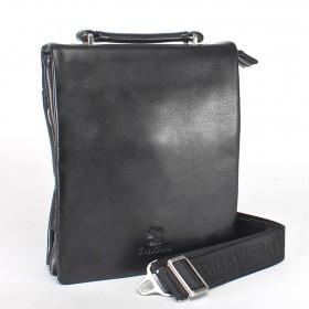 Сумка мужская иск/кожа+нат/кожа BF-9805-1,  3отд,  1внеш+2внут карм,  застежка-магнит,  плечевой ремень,  черный 149892