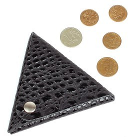 Футляр для монет Premier-F-63 натуральная кожа черный кайман   (126)