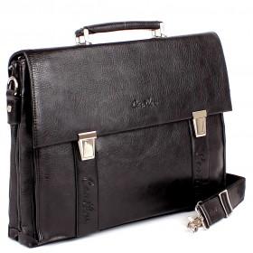Портфель искусственная кожа Cantlor-362-03,  3отд+отд д/ноут,  6внут+2внеш карм,  плечевой ремень,  черный 150994