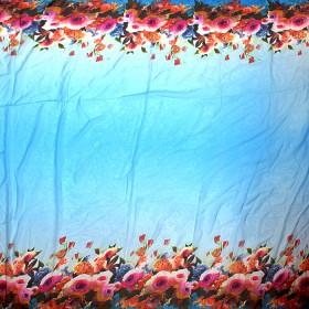 Платок 140*140см,  полиэстер 100%,  шифон,  рис розы,  голубой 151152