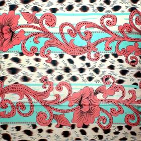Палантин 90*185см,    полиэстер 70%,    полиамид 30%,    плетение атлас,    рис просторы,    розовый+голубой