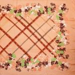 Палантин 90*185см,    полиэстер 70%,    полиамид 30%,    плетение атлас,    рис праздник,    персик
