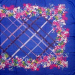 Палантин 90*185см,    полиэстер 70%,    полиамид 30%,    плетение атлас,    рис праздник,    синий
