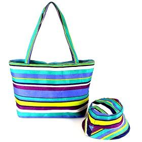 Комплект 118   (сумка пляжная+панама)    текстиль 067-HJ-137,    1отд,    полоска голубой