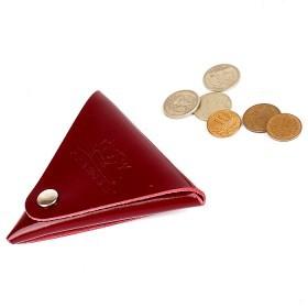 Футляр для монет Premier-F-63 натуральная кожа красный темный гладкий   (138)