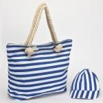 Комплект    (сумка пляж/ручки-канаты+бейсболка)    текстиль,    1отдел,    морские полоски