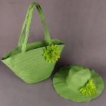 Комплект   (сумка пляжная+шляпа   (D=40см)   ) ,    текстиль 669-F 113,       (плетенка) ,    1 отдел,    зеленый