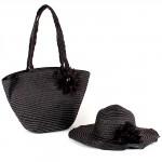 Комплект   (сумка пляжная+шляпа   (D=40см)   ) ,    текстиль 669-F 113,       (плетенка) ,    1 отдел,    черный