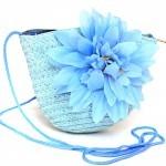 """Сумка женская текстиль 669-669 """"  Цветочек"""" ,    голубой"""
