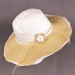 Шляпа женская текстиль    (D=41)    Анжелика-цветок,    424-5 бежевый