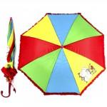 """Зонт детский 045-177,    R=45см,    """"  Радуга с ажуром""""   514-9 полуавт;    8спиц-сталь;    трость;    полиэстер,"""