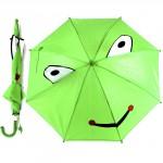 """Зонт детский 045-178,    R=45см,    """"  Лягушонок""""   514-10 полуавт;    8спиц-сталь;    трость;    полиэстер,    зеленый"""