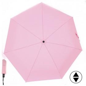 Зонт женский ТриСлона-365,  R=58см,  суперавт;  7спиц,  3слож,  полиэстер,  без рис,  розовый 157324