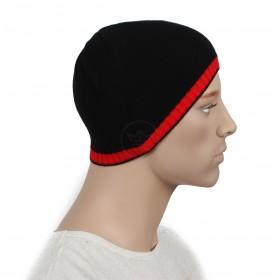 Шапка мужская DMD-КО-007  (одинарная);  шерсть 60%,  полиэстер 40%,  черный+красный 160367