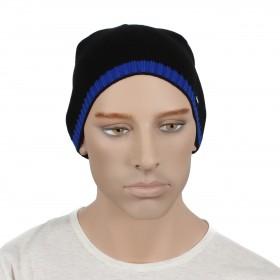 Шапка мужская DMD-КО-007  (одинарная);  шерсть 60%,  полиэстер 40%,  черный+синий 160438