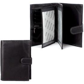 Кошелек+паспорт муж натуральная кожа H-002,  3отд+12карм,  черный 162694