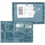 Обложка пропуск/карточка/проездной Cayman-16 натуральная кожа бирюза скат   (81)