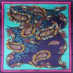 Платок головной 85*85см,    полиэстер 60%,    шелк 40%,    плетение атлас,    рис всплеск,    синий