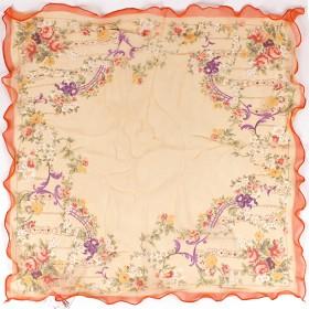 Платок шейный 60*60см,    полиэстер 60%,    шелк 40%,    шифон,    косой крой,    рис объятие,    оранжевый