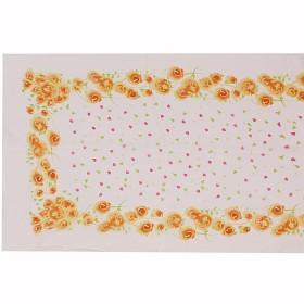 Шарф 53*160см,    полиэстер 60%,    шелк 40%,    плетение шифон,    рис хоровод,    белый+оранжевый