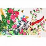 Шарф 56*160см,    полиэстер 60%,    шелк 40%,    плетение шифон,    рис райский сад,    белый