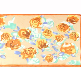 Шарф 53*160см,    полиэстер 100%,    плетение шифон,    рис бутоны,    оранжевый