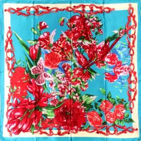 Платок головной 90*90см,    полиэстер 100%,    плетение атлас,    рис сюрприз,    голубой